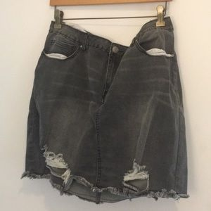 Distressed Gray Jean Skirt